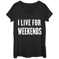 CHIN UP Live for Weekends Womens Graphic Scoop Neck