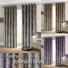 EYELET Anneau Top Pair CRUSHED VELVET Heavy Lined Curtains
