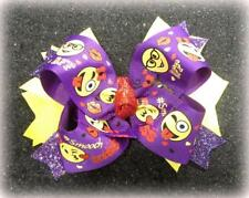 Kissy Face Bow Purple Bows Girls 5 inch Bow Emoji hairbow poop Boutique stacked