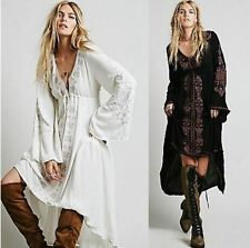 Long Dress Women's Ladies Floral Embroidered Tunic Casual Maxi Dress Hippie Boho