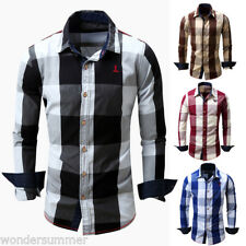 New Mens Tops Check Plaid Long Sleeve Casual Dress Shirt Slim Fit Formal Shirts