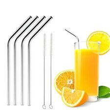 4Pcs Stainless Steel Cocktail Drinking Straw Reusable Straws + Cleaner Brush Kit