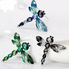 Retro Silver Dragonfly Crystal Brooch Pin Costume Broach Christmas Jewellery Hot