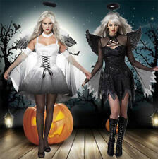 Black Angel Feather Wings Halo Costume Outfit Hen Party Halloween Fancy Dress