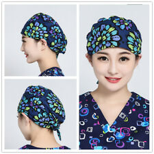 2017 New Women Flowers Printing Scrub Cap Skull Medical Surgical Surgery Hat