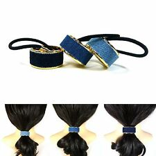 Stylish Blue Denim Gold Metal Hair Cuff Ponytail Holder Wrap Tie Band Rope Ring