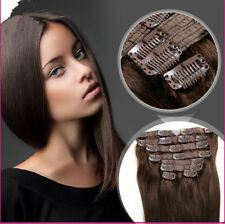 7 pcs #2 Brown Straight 100% Remy Hair Clip in Human Hair Extensions US STOCK