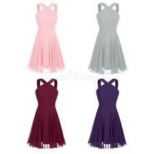 Women Chiffon Cocktail Party Evening Prom Gown Short Mini Dress Bridesmaid Party