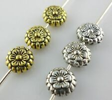 60/500pcs Tibetan silver oblate Flowers Spacer Beads 7.5*3mm