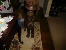 """AFRICAN AMERICAN FERTILITY DOLL HAND CARVED NUDE PLANTER / WOODEN BOWL TOP 33"""""""