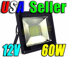 12V DC 60W Cool Pure White LED Wall Pack Wash Flood Light Patio Garage Outdoor