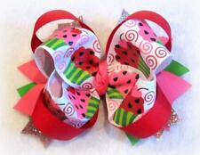 Glitter Cupcake Boutique Hair Bow Hairbow Baby Girls Birthday Watermelon Seed