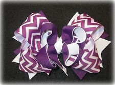 purple chevron hairbow triple boutique hair bow for toddler babies baby girl 5""
