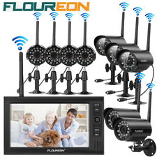 "FLOUREON Digital Wireless DVR 2/3/4X Cameras CCTV Security System 7"" LCD Monitor"