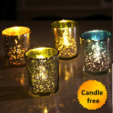 Silver Glass Candle Holder Cups Tea Light Romantic Candlestick Dinner Bar Gifts