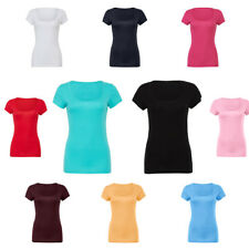 Womens Bella Canvas Stretchable Fit Sheer Mini Rib Scoop Neck T-Shirts Size S-XL