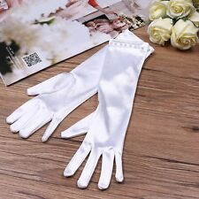 Flower Girl White Gorgeous Satin Fancy Stretch Dress Formal Pageant Party Gloves