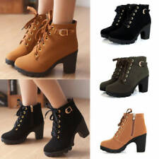 WOMENS LACE UP PLATFORM CHUNKY BLOCK HIGH HEEL ANKLE BOOTS LADIES BUCKLE SHOES