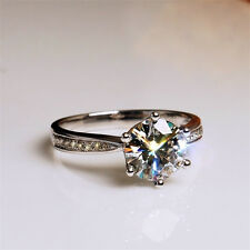 Solitaire Claw Set 6mm AAA Cubic Zirconia 925 Silver Filled Wedding Ring Sz 5-9