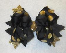 Gold Hair Bow, Gold Hairbow, Boutique Hair Bow, Gold Glitter Bow, Black hairbow