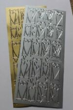 2 sheets of Peel off Stickers - Silver/ Gold Hearts, Rings, numbers,Xmas