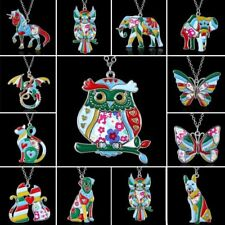 Women Silver Plated Printing Enamel Animal Dog Owl Elephant Butterfly Necklace