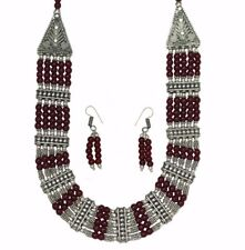 Beaded and Oxidised Silver Tribal Necklace and Earring Set