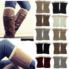 Fashion Women Crochet Knit Lace Trim Winter Leg Warmers Cuffs Toppers Boot Socks