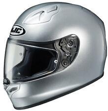 HJC Adult FG-17 Solid Silver Full Face Motorcycle Helmet Snell DOT