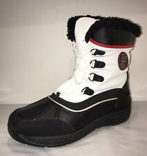 Totes LAUREN Womens White Waterproof Side Zip/Lace Up Winter Boots