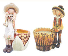 Fall Corn Girl or Boy Planter Thanksgiving Figurine Autumn Harvest Decor