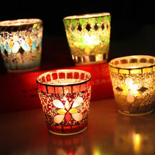 Mosaic Handmade Glass Candle Holder Tea Light Party Romantic Decor Pray Colors