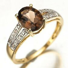 Percious Brown CZ 18K Gold Filled Woman Rings Fashion Gift Halo Size 6-10