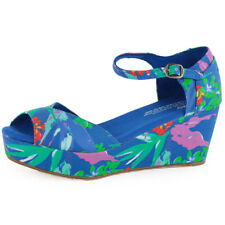 Toms Platform Wedges Womens Sandals Blue Multicolour New Shoes
