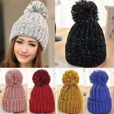 New Women Ladies Knitted Wool Ball Beanie Hat Winter Warm Ski Crochet Beret Cap