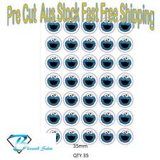 35x Cookie Monster Edible Icing or Wafer Cupcake Toppers 35mm Birthday Cake