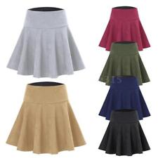 Women Faux Suede Skirt Solid High Waist Pleated Skater Short Mini Skirts B7S9