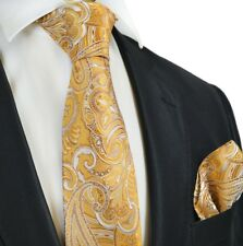Hand Made Golden Glow Paisley Silk Tie and Pocket Square Set by Paul Malone