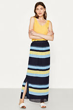 NEW Esprit Womens Flowing jersey maxi skirt with stripes NAVY