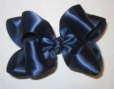 Navy Blue Satin Double Layered Fancy Hair Bows Glamor Party Hairbows Pageant