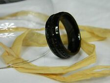 Men's Stainless Steel Black Ring - Wedding Band - FREE SHIPPING!!! FREE POUCH!!!