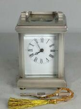 Perfect French miniature silvered brass Anglaise style 8 days carriage clock