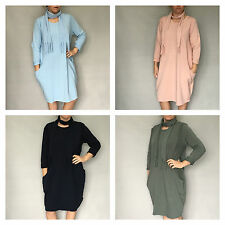 NEW MADE IN ITALY STYLE TUNIC JUMPER DRESS & SCARF - LAGENLOOK-PINK,BLUE,KHAKI