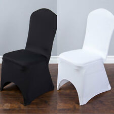 Spandex Black or White Banquet Arched Chair Covers Wedding Reception Universal