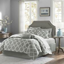 Grey Reversible Comforter & Sheet Set with Decorative Pillow, Shams & Bed Skirt