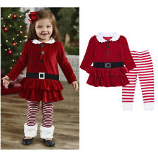 Baby Girls Kids Long Sleeve Dress Tops+Leggings Pants Outfits Xmas Clothes Sets