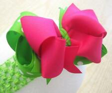 Lime Tutti Fruiti Neon Pink Boutique Hair Bow BIG Double Layered Hairbows Party