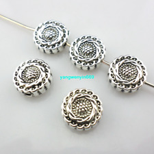 28/260pcs Tibetan silver Oblate round Sunflower Loose Spacer Beads 4.5*10mm