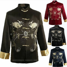 Traditional Chinese Men's Embroidery Dragon Coat Jacket Kung Fu Tops SZ M -3 XL