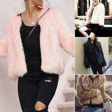 LUXURY Womens Faux Fur Soft Winter Warm Coat party MINI Jacket Outerwear COMFY